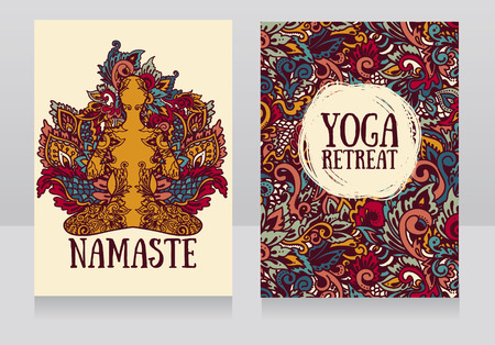 two banners for yoga retreat or yoga studio with beautiful fantasy ornament and human in lotus asana, vector illustration