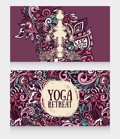 two banners for yoga retreat or yoga studio with beautiful fantasy ornament, vector illustration