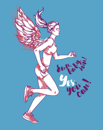 Running young and slim woman with fantasy wings