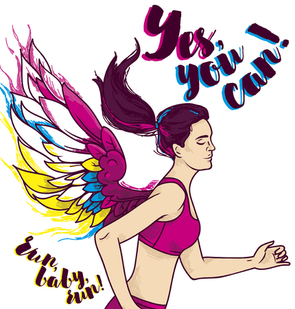Running young and slim woman with fantasy wings vector illustration