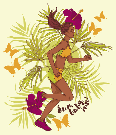 running young and beautiful african american woman with tropical decor, can be used as poster for marathon, vector illustration