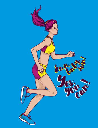 Running young and beautiful woman, sketch style vector illustration Stock Illustratie