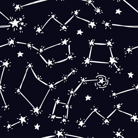 Seamless background with starry sky, sketch constellations and stars