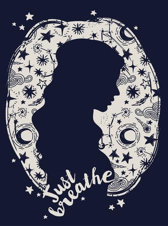 """Poster """"Basta respirare"""", silhouette di donna su sfondo stellato, illustrazione vettoriale Archivio Fotografico - 96685781"""