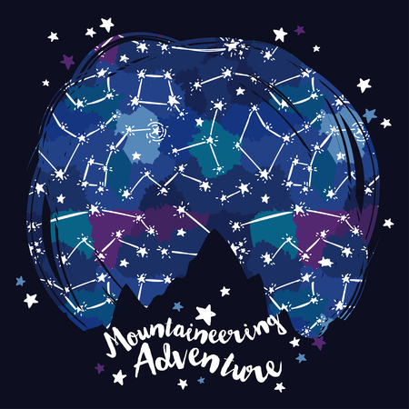 Poster for mountaineering with mountain silhouette on starry sky, sketch style, vector illustration