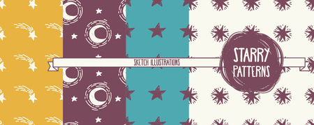 set of starry seamless patterns, vector illustration