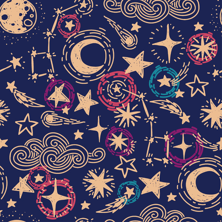 mystisches sternenklares nahtloses Muster, Skizzensterne und -mond, Vektorillustration