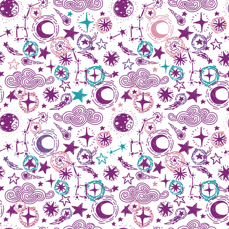 mystical starry seamless pattern, sketch stars and moon, vector illustration