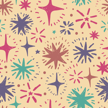festive seamless pattern with hand drawn holiday lights, colorful sketch stars, vector illustration