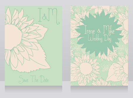 Wedding invitations with beautiful sunflowers, vector illustration in hand drawn style 일러스트