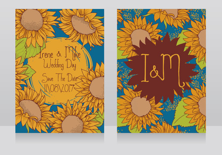 Wedding invitations with beautiful sunflowers, vector illustration in hand drawn style Illustration