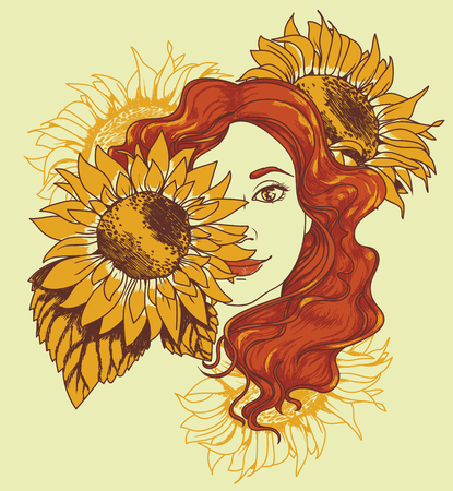 A pretty girl with long curly hair and sunflowers, poster for retro beauty, vector illustration