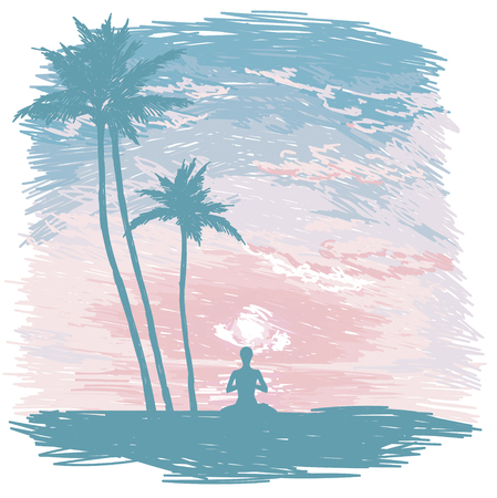 Banner for yoga practice on the beach, tropical sunrise, sketch style vector illustration