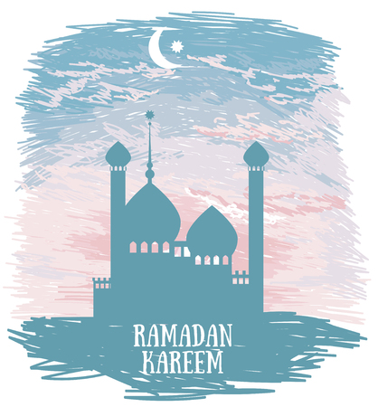 Beautiful mosque silhouette on sketch style sunrise or romantic tender sunset, card for ramadan kareem, vector illustration