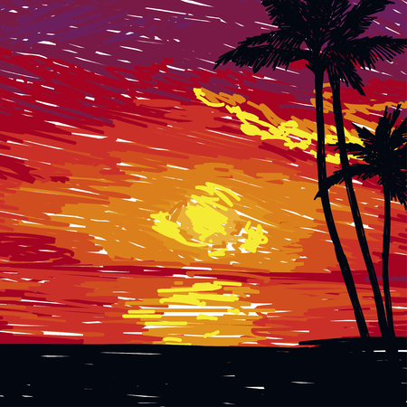 Sunset tropical in sketch style image illustration 矢量图像
