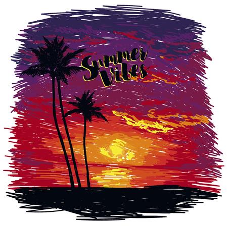 Sunset and stars image illustration