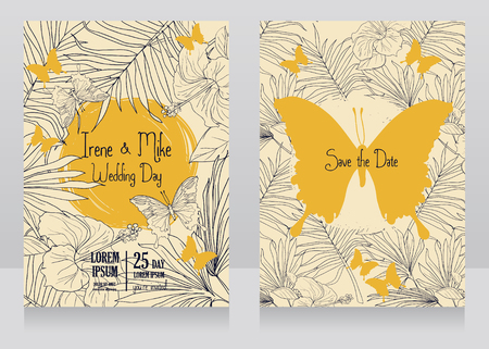 Wedding cards with tropical flowers, butterflies and palm leaves, vector illustration.