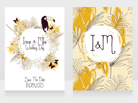 Wedding cards with tropical birds, butterflies and palm leaves, vector illustration.