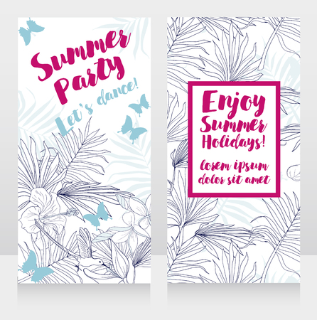 Cards for summer party with tropical decor, vector illustration