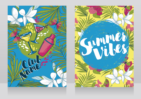 cards for summer cocktail party, invitations in trendy tropical style, vector illustration