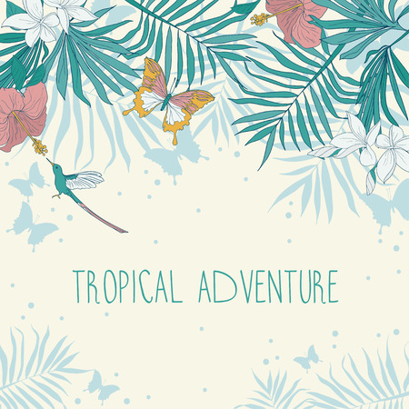 Banner with place for text and tropical flowers, palm leaves and butterflies, vector illustration.