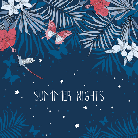 Banner for summer nights with place for text and tropical flowers, palm leaves and butterflies, can be used as party invitation, vector illustration.