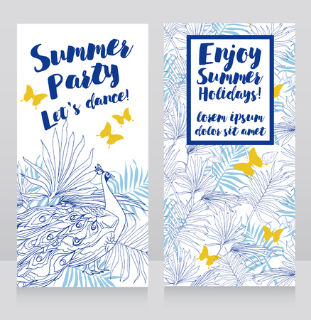 Card templates for summer party with blue and yellow tropical decor and peacock.