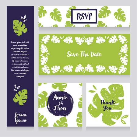 Wedding design set with monstera leaves in hand drawn style, green, blue and white; tropical style party, vector illustration