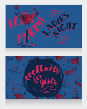 Banners for ladies night party with bright cocktails, vector illustration