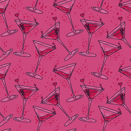 seamless pattern with cocktails and hearts, can be used for valentine's day party or for bachelorette party, vector illustration in sketch style
