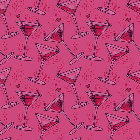 Patrón sin fisuras con cócteles y corazones, se puede utilizar para la fiesta de San Valentín o para la despedida de soltera, ilustración vectorial en estilo boceto Ilustración de vector