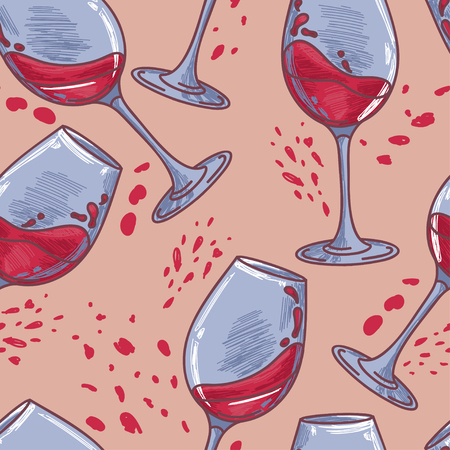 seamless pattern with wine glasses vector illustration in sketch style
