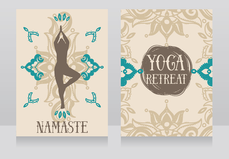 Cards template for yoga retreat or yoga studio, can be used for religious organization, vector illustration Vettoriali