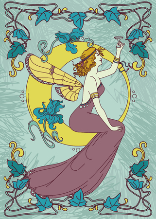 Beautiful poster in art Nouveau style with fairy woman and moon and floral frame, can be used for party invitations, vector illustration.