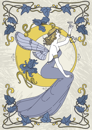 Piękny plakat w stylu secesyjnym z bajkową kobietą i księżycem i kwiecistą ramką, może służyć do zaproszeń na przyjęcia, ilustracji wektorowych. Ilustracje wektorowe