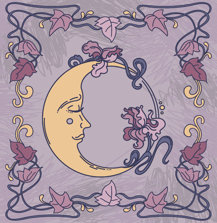 A beautiful post in art nouveau style with half-moon and irises floral frame, colored vector illustration