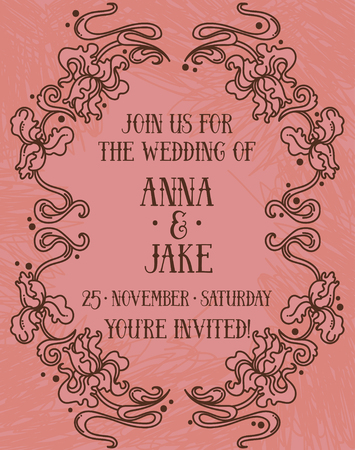 Beautiful wedding invitation in art nouveau retro style, irises floral frame, vector illustration