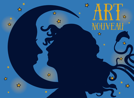 beautiful poster in art nouveau style with woman profile and moon on night starry background, can be used for retro party invitation, vector illustration Çizim