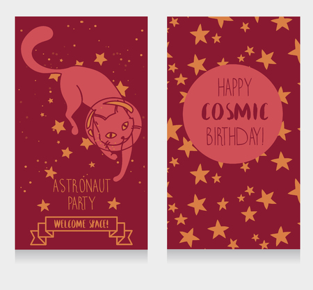 Cute cat-astronaut on a starry background, funny invitation cards for a cosmic birthday party, vector illustration