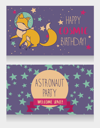 Cute fox-astronaut on starry background, funny invitation cards for a cosmic birthday party, vector illustration