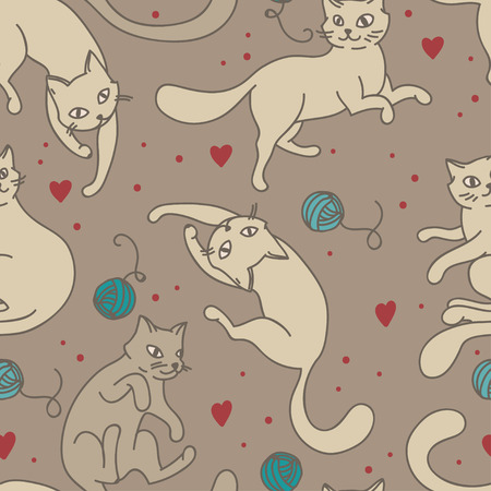 seamless pattern with cute cats, vector illustration Иллюстрация