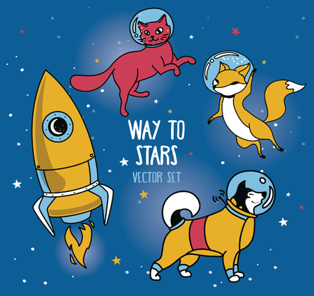 set for cosmic design: planet, dog and cat in spacesuit and rocket, vector illustration