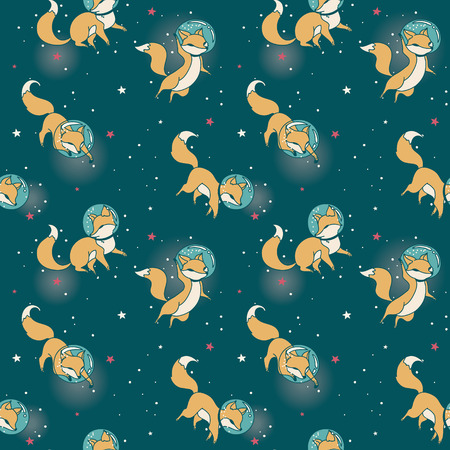 Cosmic seamless pattern, cute doodle fox-astronauts floating in space, vector illustration 向量圖像