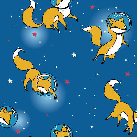 Cosmic seamless pattern, cute doodle fox-astronauts floating in space, vector illustration Illustration