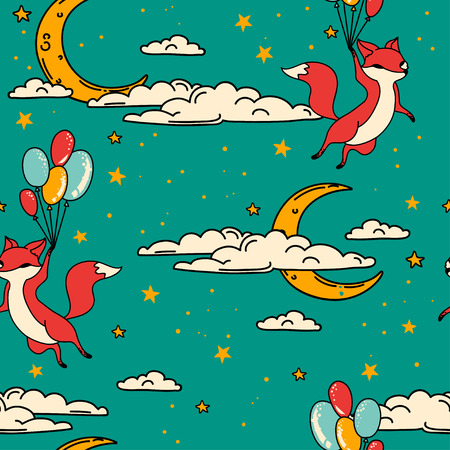Cute seamless pattern with doodle foxes on balloons flying in sky, vector illustration Illustration