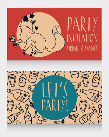 Party invitation with cute doodle fox drinking wine, can be used as birthday party invitation, vector illustration Vetores