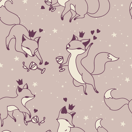 Seamless pattern with doodle foxes drinking wine, vector illustration