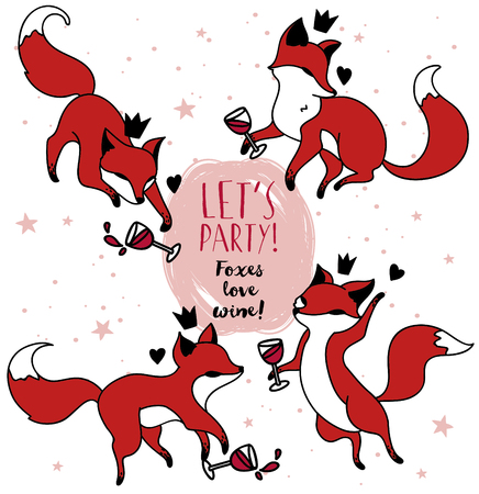 Cute doodle foxes drinking wine, set of vector illustration