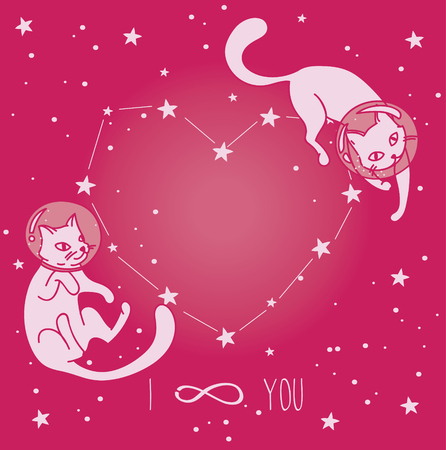 Cosmic poster for love with doodle cat-astronauts floating in space, vector illustration