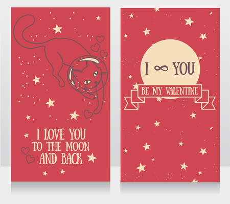 Cosmic cards for love with doodle cat-astronaut and stars background, vector illustration
